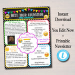 School Counselor Newsletter Communication Printable Template