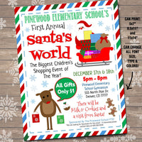 Children's Xmas Shopping Flyer, Breakfast with Santa, Kids Christmas Shopping Invitation, School Pto Fundraiser Holiday Event Flyer