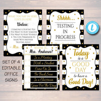 EDITABLE TEMPLATES Counseling Office Confidentiality Poster Office Decor Sign Set Therapist Where is the Social Worker, What You Say in Here