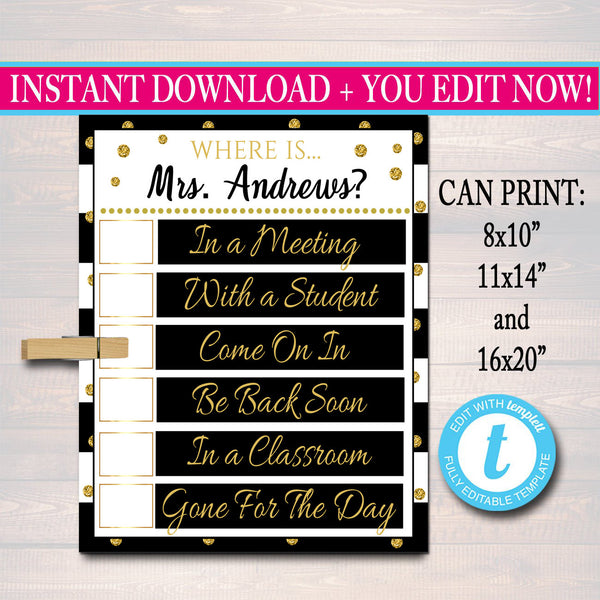 EDITABLE Door Sign, Classroom Decorations, Custom Teacher Gifts, Custom Teacher Door Hanger, Classroom Management, Where is the Teacher
