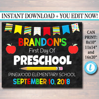 First Day Of School Sign - Personalized Photo Prop Template