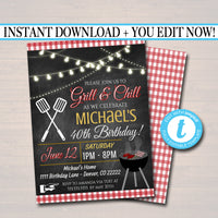 EDITABLE Grill and Chill Invitation Company Family Picnic BBQ Barbecue Backyard Party Adult Birthday Cookout Digital Invite Instant Download