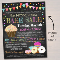 Bake Sale Event Flyer - School Family Fundraiser - Editable DIY Template