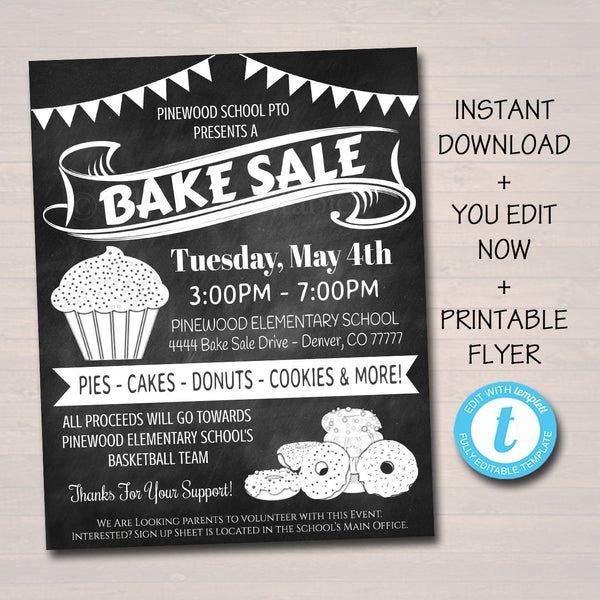 EDITABLE Bake Sale Flyer, Printable PTA, PTO Flyer, School Family Fundraiser Event, Bakery Restaurant, Church Printable Digital Invitation