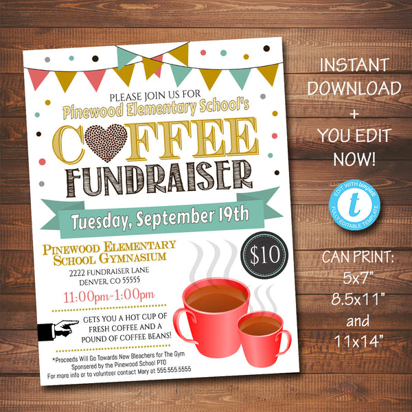 EDITABLE Coffee Fundraiser Flyer, Printable PTA, PTO Flyer, School Church Fundraiser Event, Team Sports Charity Printable Digital Invitation
