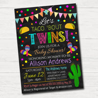Editable Twins Fiesta Nacho Average Baby Shower Invitation, Chalkboard Printable Baby Sprinkle, Couples Shower Party Invite INSTANT DOWNLOAD