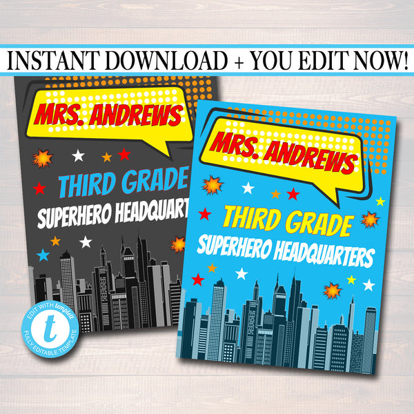SuperHero Teacher Classroom Door Sign - DIY Editable Template