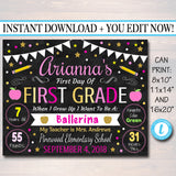 EDITABLE GIRL Back to School Photo Prop, Back to School Chalkboard Poster, Girl School Chalkboard Sign, Any Grade Sign 1st Day of School