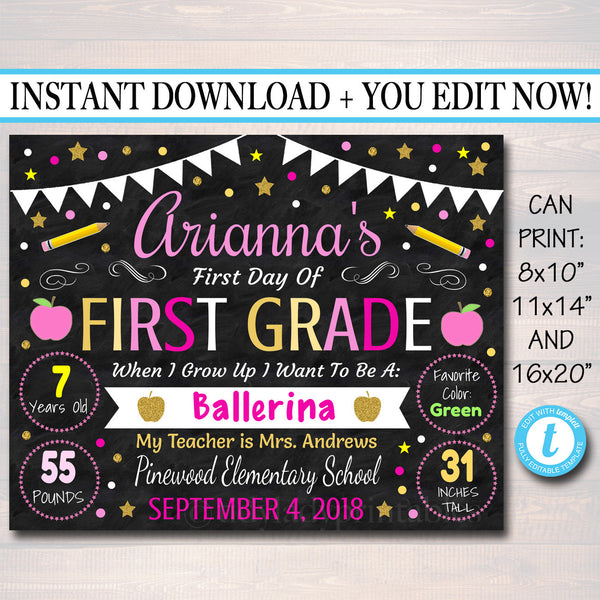 Girl First Day Of School Sign - Personalized Printable DIY Template