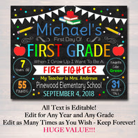 EDITABLE BOY Back to School Photo Prop, Back to School Chalkboard Poster, Girl School Chalkboard Sign, Any Grade Sign 1st Day of School