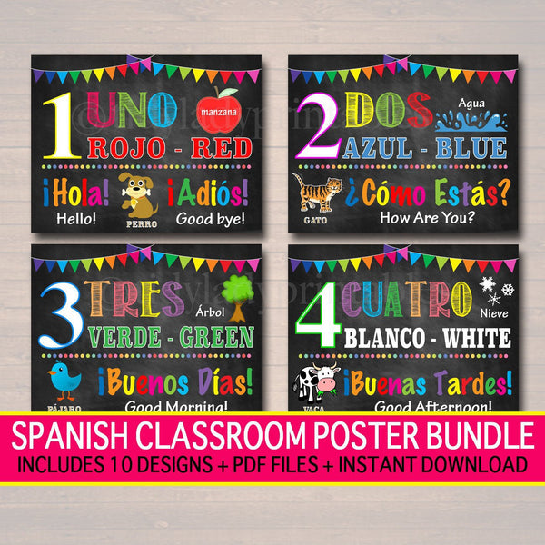 Spanish Classroom Printable Poster Set, Elementary Middle School Teacher Printables, Vocabulary Colors Numbers
