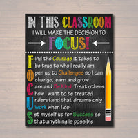 FOCUS Acronym Poster - Growth Mindset Motivational Wall Art