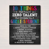 Classroom Decor - 10 Things Zero Talent - Classroom Management Printable