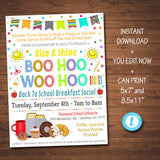 Boo Hoo Woo Hoo Yahoo Breakfast Event Social Printable Template