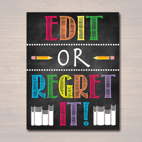 Funny English Poster, Edit or Regret It, Grammar Punctuation Classroom Printable, College High School Lit Teacher Professor