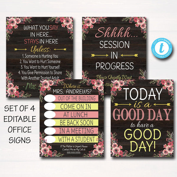 Counseling Office Poster Set - Editable DIY Templates
