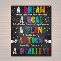 Classroom Printable Poster, Counselor Office Decor, High School English Classroom Poster Dreams Goals, Motivational Teen Inspirational Art