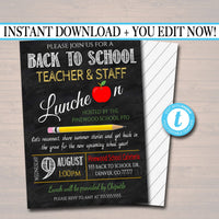 EDITABLE Teacher Staff Luncheon Breakfast Social Printable PTA PTO Flyer Invite School Fundraiser, Back To School Lunch Printable Invitation