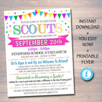 EDITABLE Recruitment Flyer Template, INSTANT DOWNLOAD, Informational Meeting Info, Scout Parent Communication Form, School, Troop Printable
