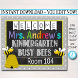 Printable Teacher Classroom Door Sign - Bee Theme - Editable DIY Template