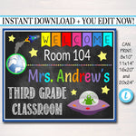 Outer Space Theme Teacher Classroom Door Sign - Editable DIY Template