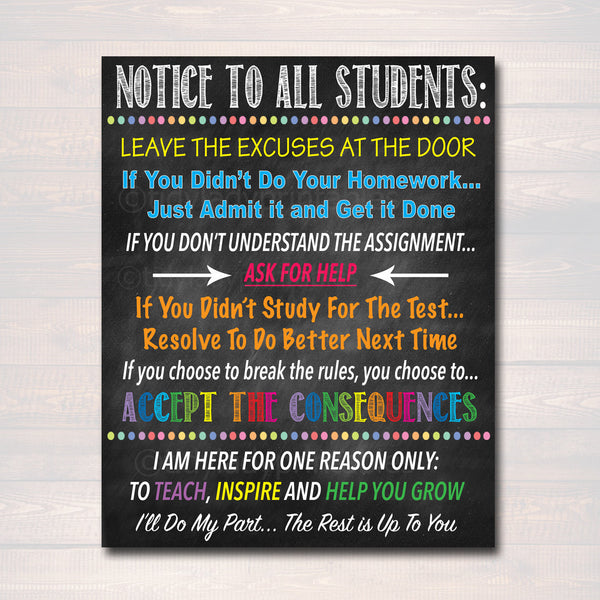Notice To All Students Classroom Teacher Poster Sign, School Class Rules Digital Art, No Excuses Sign, Consequences Poster INSTANT DOWNLOAD