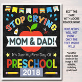 Stop Crying Mom & Dad Back to School Photo Prop, Preschool Boy School Chalkboard Sign, 1st Day of School Sign Funny Prop, INSTANT DOWNLOAD