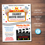 Family Movie Night Event Flyer - Printable Template