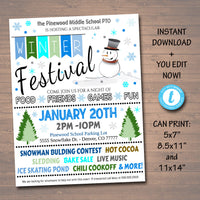 Winter Festival Holiday Flyer/Poster Printable Christmas Invitation Community Winter Event, Church School Pto Pta Fundraiser Invite