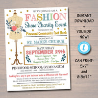 EDITABLE Fashion Show Flyer, Spring Summer Boutique Show Invitation PTO PTA, Charity Event, Vintage Invite Printable Community Event Church