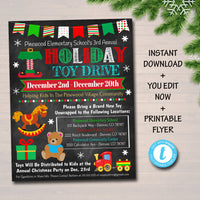 Holiday Toy Drive Flyer, Printable PTA PTO Flyer, School Church Xmas Fundraiser Poster Christmas Invite, Pto Pta Charity Invitation