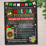 Holiday Food Drive Flyer, Printable PTA PTO Flyer, School Church Xmas Fundraiser Poster Christmas Invite Pto Pta Charity Invitation