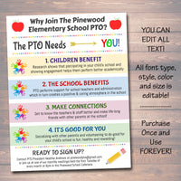 EDITABLE PTO PTA Recruitment Flyer, Printable Handout, School Fundraiser Event, Why Volunteer Handout Template, Newsletter, Instant Download