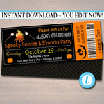 Editable Bonfire Invitation, Kid's Birthday Invite, Fall Harvest Printable Invitation Halloween, S'mores Pumpkin Carving Ticket Template