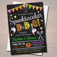 EDITABLE Halloween Baby-Q Gender Reveal Party Invitation, Boo-y or Gouhl, Halloween Baby Shower Couples Party Invite INSTANT DOWNLOAD