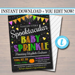 EDITABLE Halloween Baby Shower Party Invitation, Halloween Invite, Gender Reveal Witch, A little Pumpkin is on it's Way! INSTANT DOWNLOAD