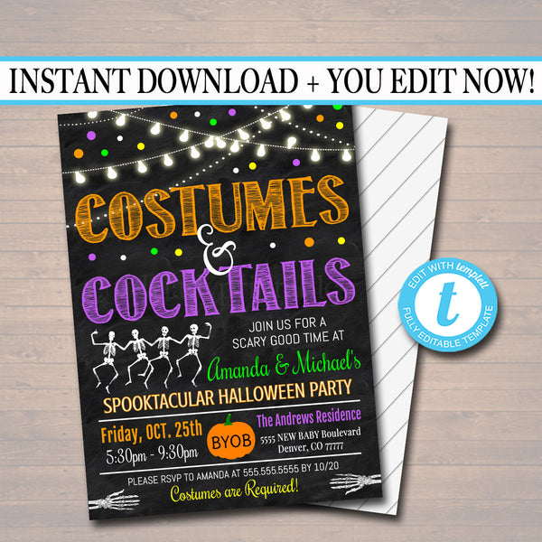 Halloween Costumes and Cocktails Party Invitation Adult Halloween Bachelorette Invite Brews & Boos, Cheers Witches