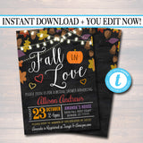 EDITABLE Fall In Love Bridal Couples Shower Party Invitation, Wedding Halloween Bachelorette Invite, Fall Leaves Pumpkins, INSTANT DOWNLOAD