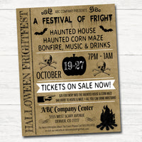 Halloween Flyer/Invitation Printable Halloween Event, Community Business Bar Adult Halloween Haunted House Bonfire Poster Template
