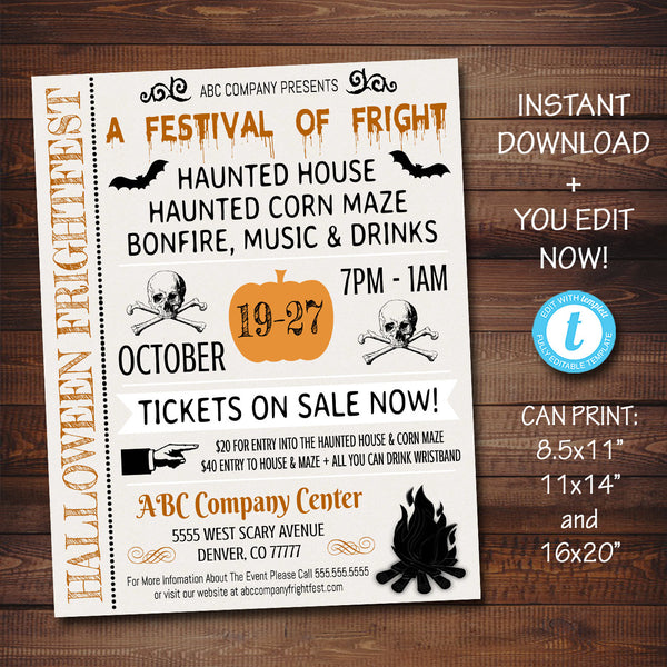 EDITABLE Halloween Flyer/Invitation Printable Halloween Event, Community Business Bar Adult Halloween Haunted House Bonfire Poster Template