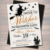 Halloween Bridal Shower Party Invitation, Wedding Halloween Bachelorette Invite, Drink Up Witches, Cheers Witches,