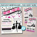 Mom Prom Fundraiser Flyer Invite Ticket Set, pto pta, Church Community School Benefit Event, Fashion Show Dinner