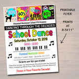 Dancing Through The Decades School Dance Set, Dance Flyer Party Fundraiser Church Community Event, pto, pta,
