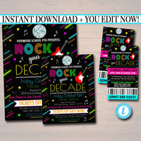 Rock The Decade School Dance Set, Dance Flyer Party Fundraiser Church Community Event, pto, pta, Printable Invite,
