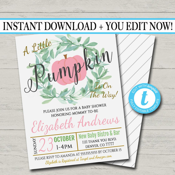EDITABLE Girl Rustic Fall Baby Couples Shower Party Invitation, Halloween Shower Invite, A little Pumpkin is on it's Way! INSTANT DOWNLOAD