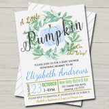 EDITABLE Boy Rustic Fall Baby Couples Shower Party Invitation, Halloween Shower Invite, A little Pumpkin is on it's Way! INSTANT DOWNLOAD