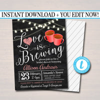 Love is Brewing Bridal Couples Shower, Tea Coffee Party, Wedding Chalkboard Invitation, Valentine's Cozy Winter,