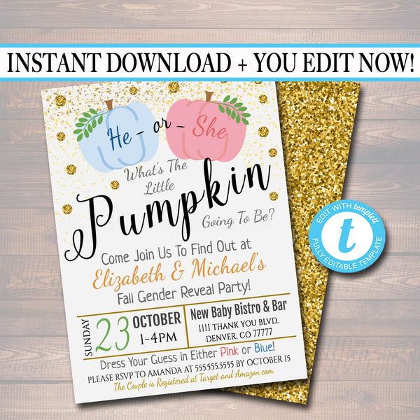EDITABLE Gender Reveal Party Invitation, Halloween Invite, Halloween Baby Shower He or She Little Pumpkin Costume Party, INSTANT DOWNLOAD