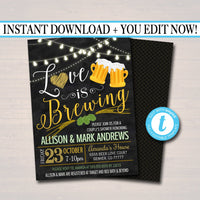 Love is Brewing Bridal Couples Shower, Beer Keg Party, Wedding Chalkboard Invitation, Lucky St. Patricks Day,