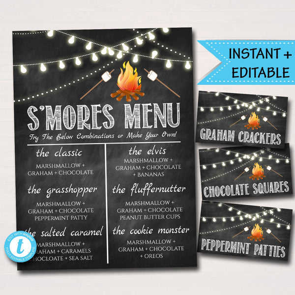 EDITABLE S'mores Menu & Party Food Tent Labels, Fall Harvest Bonfire Invitation, Fall Festival Pumpkin Printable Invite Wedding Decoration
